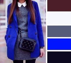 Stylebook Mantel Outfit, Royal Clothing, Blue Dress Outfits, Royal Blue Outfits, Royal Blue Dresses, Gray Dress, Color Combinations For Clothes, Colour Combinations Fashion, Dress Wedding