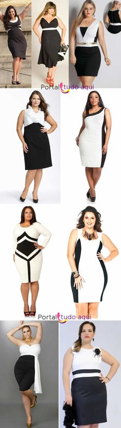 Plus b&w body-con dresses for Summer