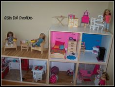 In a previous blog post, I posted photos of the American Girl Doll House that my husband built for our granddaughters to play with when they come to visit. I had a lot of fun decorating it. I promise
