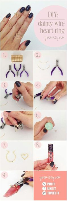 DIY Wire Heart Ring Tutorial - Step by Step Instructions - Super Simple . - DIY wire heart ring tutorial – step by step instructions – super simple dainty heart wire ring - Diy Jewelry Rings, Diy Jewelry Making, Heart Jewelry, Jewelry Crafts, Jewelry Ideas, Amber Jewelry, Handmade Jewelry Tutorials, Jewelry Supplies, Pendant Jewelry