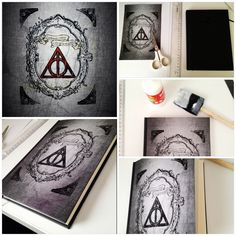 Do it yourself Haryy potter deathly hollows notebook. Diy journal cover for you. Gift ideas. Vintage frame.