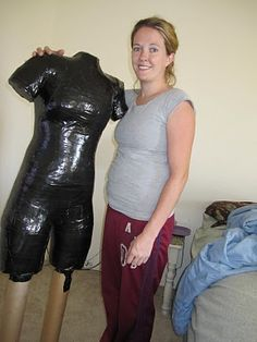 What a great idea for sewing - create your own dress form. THis is nuts! You have to duck tape a garbage bag on your body, cut it off and then fill with spray foam! I would use the pretty tape though :)