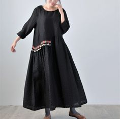 Loose Retro Linen Robe Dress  Black