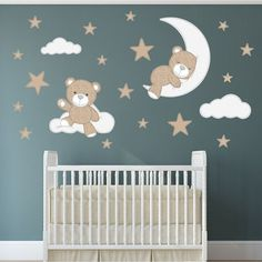 Fabric Stitch Bear, Stars, Clouds and Moon Enchanted Interiors Premium Self Adhesive Fabric Nursery Wall Decals Approx Scene Size: 59 wide x high wide x high) Captivate your babys imagination with our cute cuddly teddy bears nursery stickers featuring a Wall Stickers Stars, Baby Wall Stickers, Nursery Wall Stickers, Window Stickers, Window Decals, Baby Boy Room Decor, Baby Room Design, Baby Boy Rooms, Design Bedroom
