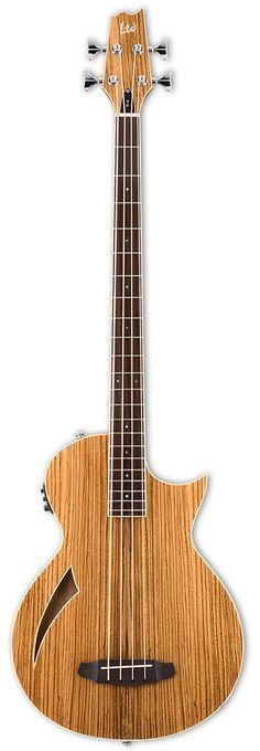"LTD TL-4Z Thniline Bass Features - Mahogany Body - Zebrawood Top - 3 Pieec Mahogany Neck - Rosewood Fingerboard - 34"" Scale Length - Graphtech Nubone XB Nut & Saddle - Chrome Hardware - 22 Jumbo Frets"