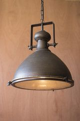 Large Metal Pendant With Glass Cover