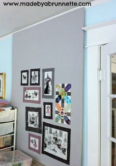 Easy design wall: Kay Sorensen made this with a gray flannel sheet ...