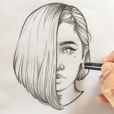 Forever by Rik Lee drawings sketches Blue Red and Black Line Portrait Sketches Tumblr Sketches, Girl Drawing Sketches, Portrait Sketches, Cool Art Drawings, Pencil Art Drawings, Amazing Drawings, Beautiful Drawings, Illustration Sketches, Pencil Drawing Tutorials