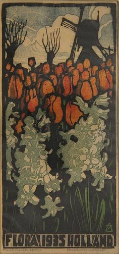 """A. Zonneveld . """"Flora 1935 Holland"""". Col. woodcut"""