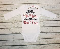 Baby Girl's No Hair Don't Care Glitter Outfit by MyBubblyBoutique