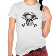 Impaled Chef Skull v1 T-shirts. Black and white skull wearing puffy chef hat, impaled by crossbones entering through its eye sockets and exiting out the mouth.