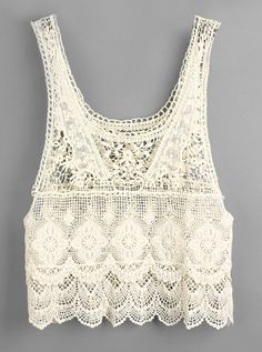 Beige Sleeveless Crochet Lace Vest R$42.05