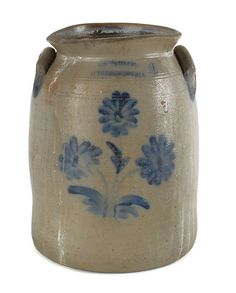 "Sold For $ 400  William Moyer, Harrisburg, Pennsylvania, four-gallon stoneware crock, 19th c., with a cobalt floral decoration, 13 1/2'' h.                            Condition report           Opening is misfired and is oblong in shape. 2"" area of loss to outside of rim. 1"" area of loss to outside of rim. Ond handle has a few flakes. Other handle has 1 1/2"" rough spot/flaking."