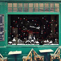 Malloom Noël Magasin Fenêtre Décoration Stickers Muraux Noël Flocons De Neige Ville: Matière: PVC. Taille: environ 60 * 90cm Protection de…