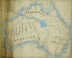 Apparently Australia used to have an inland sea? Not really, but for some reason early explorers thought there would be one there. This map by Thomas Maslen, who worked in the East India Company, was drawn in Old World Maps, Old Maps, Vintage Maps, Antique Maps, Adventure Symbol, Early Explorers, Aboriginal History, East India Company, Map Globe
