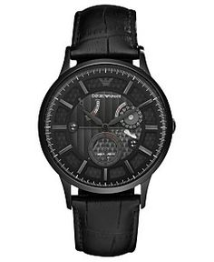 Emporio Armani Watch, Men's Automatic Meccanico Black Croco Leather Strap 43mm AR4661