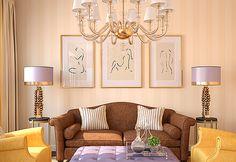 Decoração clássicas. Obras contemporâneas. Combinação de estilos. Decoração com arte. Quadros na decoração. Obras minimalistas.
