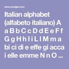 Italian alphabet (alfabeto italiano)  A aB bC cD dE eF fG gH hI iL lM m  abicidieeffegiaccaielleemme  N nO oP pQ qR rS sT tU uV vZ z  enneopicuerreessetiuvi/vuzeta