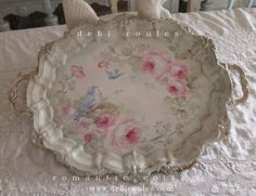 I just love bluebirds and roses! My Vintage hand painted tray is now available at www.debicoules.com