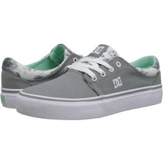 DC Trase TX SE Women's Skate Shoes, Gray ($30) ❤ liked on Polyvore featuring shoes, sneakers, grey, low top, low profile shoes, grey shoes, canvas footwear and patterned shoes