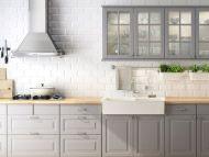 LIDINGÖ grey kitchen with NUMERÄR beech countertop and FÅGLAVIK handles/knobs