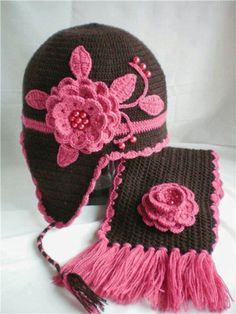 Crocheted flower hat and scarf