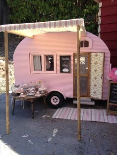 Miniature camper by Kim Saulter  Tiny home house on wheels, pink travel trailer, glam glamour camping glamping, homemade awining, perfect little guest house.    Upcycle, Recycle, Salvage, diy, thrift, flea, repurpose, refashion!  For vintage ideas and goods shop at Estate ReSale & ReDesign, Bonita Springs, FL