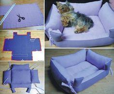 Level: difficult // Ein Bett für ihren Hund  // Gesehen bei: http://thewhoot.com.au/whoot-news/crafty-corner/pet-pillow-bed