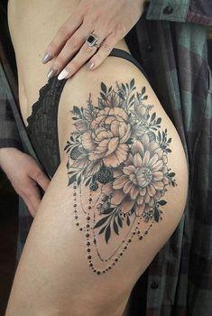 Popular And Sexy Floral Hip Tattoo Designs; Mini Tattoos, Body Art Tattoos, Cool Tattoos, Small Tattoos, Tatoos, Piercing Tattoo, Tattoo Girls, Floral Thigh Tattoos, Tattoo Floral