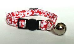 Cat Collar  Handmade  Red daisy fabric by ItsAlicesImagination