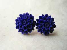 Indigo Flower Earrings. Handmade Polymer Clay Earrings Dahlia Earring Studs. Royal Purple Flower Earrings Indigo Blue Earrings FSE1. on Etsy, $10.00