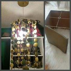 DYI gold light fixture using a lampshade frame, gold spray paint and some accessories! Style Box, Gold Spray Paint, Gold Light, Dyi, Light Fixtures, Decorative Boxes, Gift Wrapping, House Styles, Frame