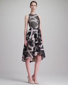 Ribbon-Embroidered Halter Dress, Gray/Blush by Lela Rose at Bergdorf Goodman.
