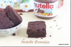 Eggless and butter less Nutella brownies by Jeyashriskitchen