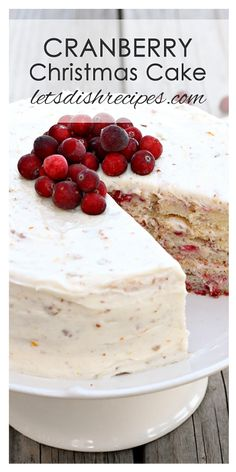 Cranberry Christmas Cake Recipe | This gorgeous holiday dessert will be the highlight of your Christmas or Thanksgiving dinner.
