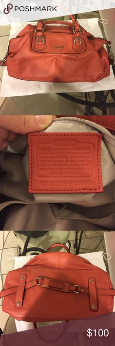 Genuine COACH Leather Satchel COACH F15447 coral leather bag. Genuine Coach Ashley Signature Satchel with ID Plate. Can be used with carry strap, or held by handle. This purse was used, but taken well taken care of! Coach Bags Satchels