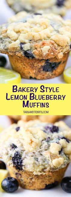 Bakery Style Lemon Blueberry Muffins - Tender bakery style muffins filled with blueberries and lemon zest and topped with a sweet and buttery streusel topping. Birthday Desserts, Köstliche Desserts, Delicious Desserts, Yummy Food, Vegetarian Desserts, Lemon Blueberry Muffins, Blueberry Recipes, Blue Berry Muffins, Blueberries Muffins