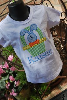 Personalized Applique Easter shirt for boy. $20.00, via Etsy.