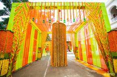 Mehendi Wedding Decor - Genda Phool entrance #wedmegood #mehendi #decor