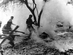 Sikh soldiers of the British Indian Army capturing a German held position, 1945 This is a people from India