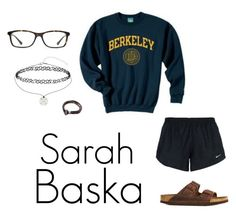 """Sarah Baska ( Kinda Sarah) outfit"" by ellaursitti ❤ liked on Polyvore featuring NIKE, Miss Selfridge, Vogue and Birkenstock"