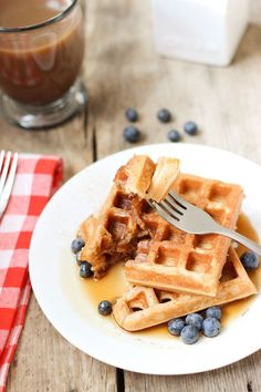 Light and fluffy, 100% whole wheat waffles. | www.mysequinedlife.com