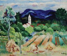 'Paysage de Provence', oil on canvas painting by Moïse Kisling, c. 1919 - Moïse Kisling - Wikipedia, the free encyclopedia