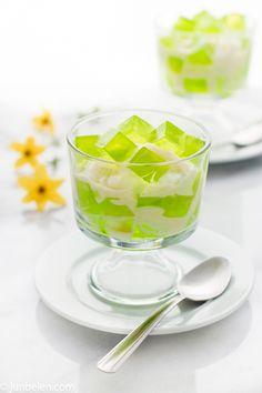 [Sweets] Buko pandan. Pandan jelly and coconut dressed in cream and condensed milk.