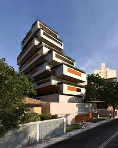 Brazil, São Paolo, Girrasol Building - by Isay Weinfeld; distinctive residential block formed by unevenly cascading levels situated on a sloping topography in São Paulo. Overall Winner in the 10th annual MIPIM Architectural Review Future Project Awards.