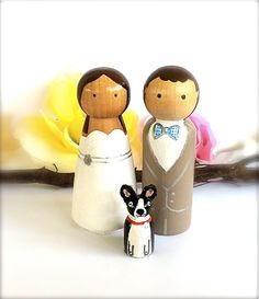 Personalized Wedding Cake Toppers with Pet Natural Wood Peg Dolls Custom Cake Topper Keepsake Anniversary Decor Party Family Bridal