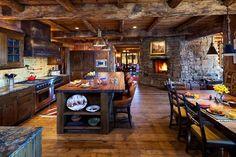 Cozinha rustica com elementos de pedra