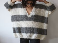 Grey and white stripes knit Stardust – DropsDESIGN ludivineem