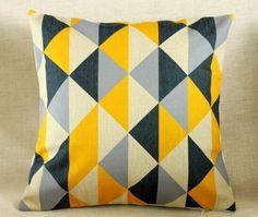 vintage katoen linnen kussenhoes kussensloop geel grijs driehoek geometrische stoffering home decor(China (Mainland))