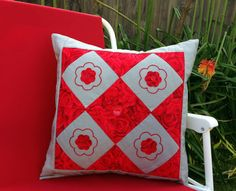 """# Home Decor #Fashion #Embroidery Red Patchwork Cushion Cover Size 16"""" by 16""""  Pillow front padded and lined Red Rose Pillow Cover Embroidered Grey cushions Made in Australia"""